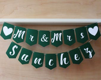 Mr & Mrs Banner - Wedding Pennant Banner - Personalized Sign with Last Name - Cursive Script and Custom Colors - Photo Prop