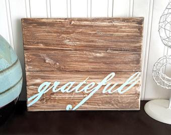 Grateful Home Decor Rustic Home Decor Goals Faux Wood Sign Rustic Wall Decor Living Room Decor Fall Decor
