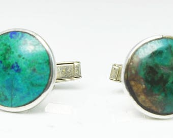 Mexico Sterling Silver Cuff Links TM 15 18mm Beautiful Round Turquoise