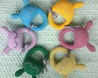 Rattle for baby/for babies/for children/toy for kids/amigurumi rattle/knitted rattle/hare rattles/for newborns/baby rattle/rattles/baby
