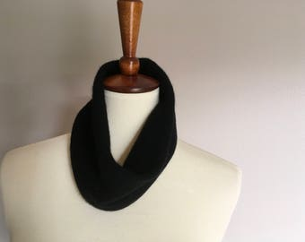 Black cashmere cowl # 80. Upcycled black cashmere neckwarmer. Felted black single loop infinity scarf