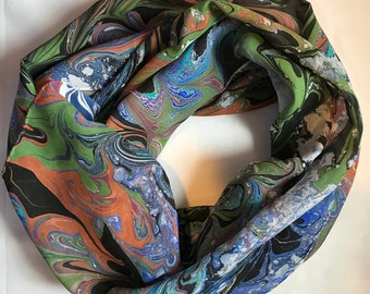 """Black, Blue, Green and Brown - Water Marbled Hand Painted 100% Silk 6 Foot Long Scarf Habotai 8mm - 14"""" x 72"""""""