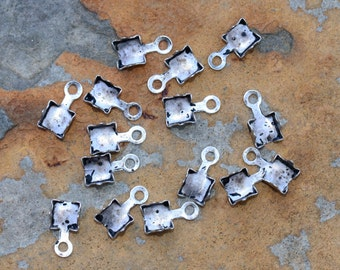 6 Antique Silver Rhinestone Chain Connectors (4mm) - Nunn Designs