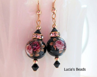 NEW Gorgeous  Pink Twin Roses on Black Japanese Tensha Bead Earrings