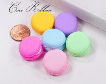 23mm 12pcs Polymer Clay Miniature Macaron Sweet Treat Flatback Cabochon A10