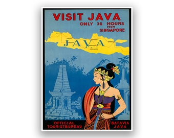 Visit Java Travel Poster, Midcentury Indonesia Tourism Artwork, Restored Fine Art Print, Retro Home Decor, Large Sizes Available