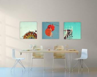 canvas art // huge wall art // canvas art set - set of three Santa Cruz photography art on canvas