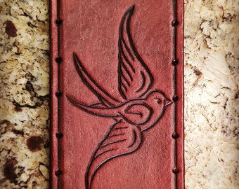 Leather Patch - Sparrow - Sew On Anything - hand made by American Made Upgrades