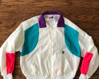 Vintage 1980s windbreaker, neon windbreaker, 1980's neon jacket size XXL