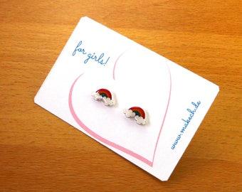 Mädchenschmuck Kinderschmuck Ohrstecker Ohrringe Regenbogen Silber 925