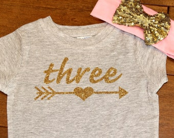 Girls 3rd Birthday, Three Birthday, Girls Third Birthday, Three Birthday, Glitter Birthday Shirt, Gold Glitter Birthday Shirt,Third Birthday