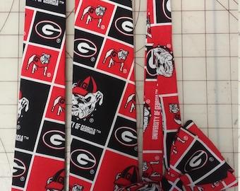 University of Georgia Bulldogs Neckties in bow tie, skinny tie, and standard tie styles, kids or adult sizes