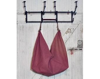 Everyday Barkcloth Bag w/ Leather Handle - Rare Tropical Vintage Barkcloth - Market Bag - Reusable Bag - Tote Bag - Origami Bag - Size L