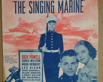 The Lady who couldn't be kissed. The singing Marine. 1937 Lithograph.
