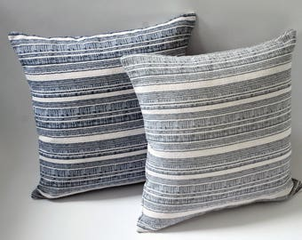 Kendrick Collection // 24 Inch Pillow Cover + 10 More Sizes // Dark Blue Pillow with White Stripe // Modern Pillow with Stripes