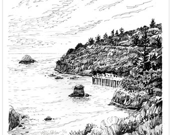 Trinidad Head Pier, Ink Drawing Series Art Print 12x12 by Buzz Parker