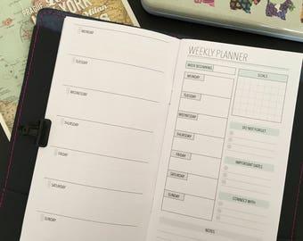 Standard Traveler's Notebook Insert Weekly Planner - TN Inserts Printable - Traveler's Notebook Insert - TN Inserts - TN printables