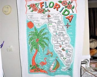 Vintage 80s Florida Beach Towel Terry Cloth Map