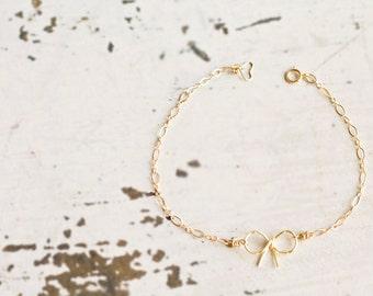 Delicate Bow Bracelet, Tie The Knot Bracelet, Gold Bow Bracelet, Bridesmaids Gift, Tie The Knot Card