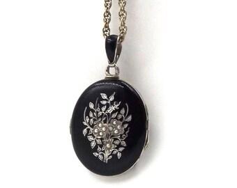 Victorian Black Enamel Locket | Large Antique Sterling Silver Seed Pearl Locket Necklace | Mourning Locket