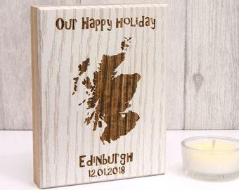 Personalised Holiday Memories Wooden Artwork