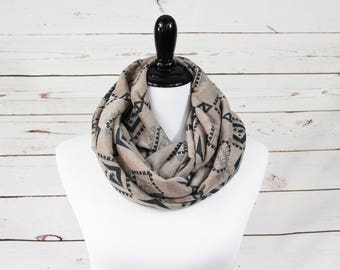 Forest Green and Beige Tribal Print Infinty Scarf
