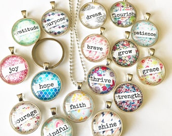 Inspiring Necklace Keychain one little word uplifting encouraging hope joy faith grace brave grow gratitude thrive mindful strength courage