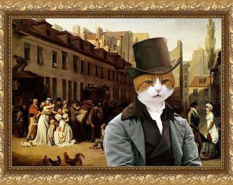 Orange Cat British Shorthair Fine Art Canvas Print - Bon Voyage