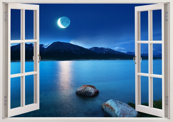 Lake At Moonlight Wall Sticker 3D Window Lake Wall Decal For