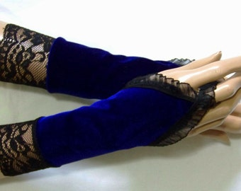 Holiday,Simple,Velours,Cobalt,Lace,Short Arm Warmers with finger loop,Sleeves for Gothic,Retro,Elegant and Comfortable IDEAL  for HER