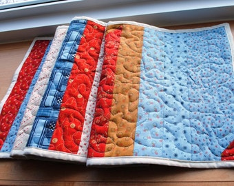 Handmade Quilted Table Runner Americana Patriotic Red Blue Cream Rust