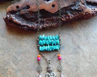 Buddha necklace - Good luck necklace - abacus - long boho necklace - hippie statement necklace - festival jewelry - layering necklace