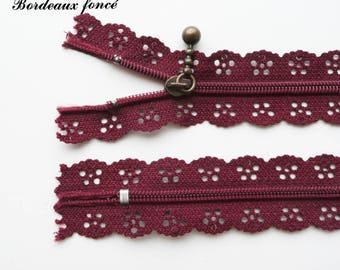 Lace zipper Burgundy dark 25 cm not separable sold individually