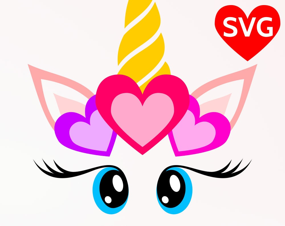Svg Love Unicorn Face With Hearts Valentine S Day Svg