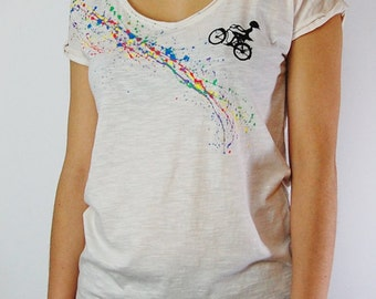 Rainbow Bike Organic cotton T-shirts for Women , Roll Up Sleeves , Girly Baggy Cut , Tops , Lady's