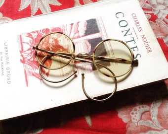 Antique 1900s DANDY French tortoise round frames sunglasses AS IS
