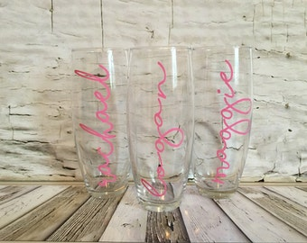 Stemless Champagne Glass with Name, Champagne Flute, Mimosa Glass, Bridesmaid Gift