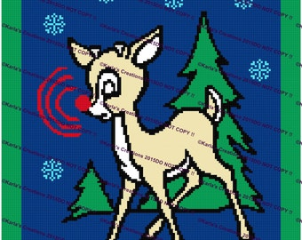 Rudolph With Tree Crochet Graph