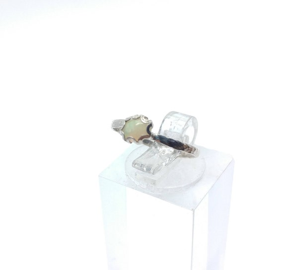 Tiny Opal Ring   Sterling Silver Ring Sz 4.5   Solid Opal Ring   Opal Jewelry   Fire Opal Ring   Welo Opal Ring   Precious Opal Ring