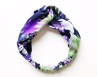 Phyllis Fabric Headband - Turban headband - Lavender Night - Boho headband - Womans headband - Adult headband - Navy fabric headband