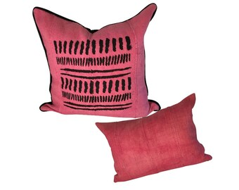Authentic Mud Cloth Pillow, Pink Boho Pillow, Square or Lumbar Pillow,  Pink and Black Pillow Cover, Handpainted Fabric