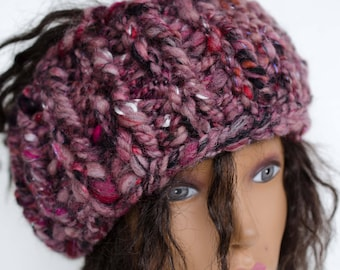 Head Band/ Ear Muff - Hand Spun Super Chunky Yarn  -  Purple Black and Pink - Super Warm Adult Size OOAK Snow Gear