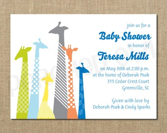 Giraffe Family Baby Shower Invitation - New Baby - Announcement - Digital File
