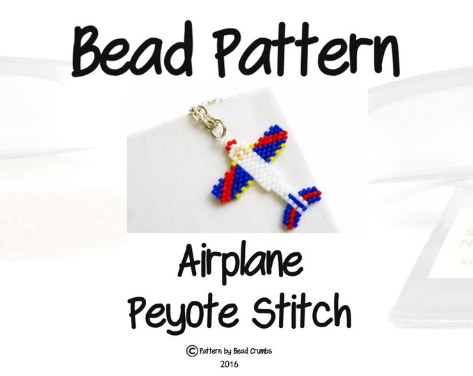 Seed Bead PATTERN - Airplane, Peyote or Brick Stitch, Bead Weaving Jewelry, Red - White - Blue
