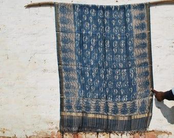 Handwoven Maheshwari Silk Natural Indigo Dupatta