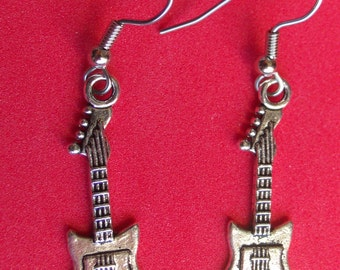 Vintage Electric Guitar earrings,  stainless steel ear wire,Tibetan  silver, finished on both sides.