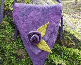 Felt faery bag~fantasy bag ~woodland ~purple