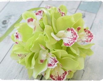 Green Cymbidium Orchid Wedding Flower Girl Pomander Ball -  Your Choice of Ribbon Color