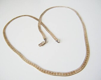 Vintage Herringbone Milor Italy Chain, with Star Pattern and Gold Wash, 24 Inch