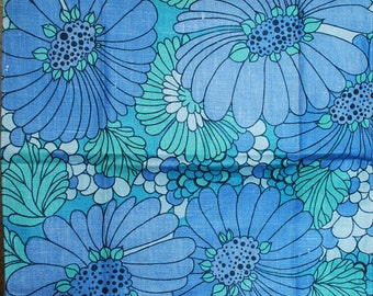 Vintage Blue Floral Kitchen Towel-1970s